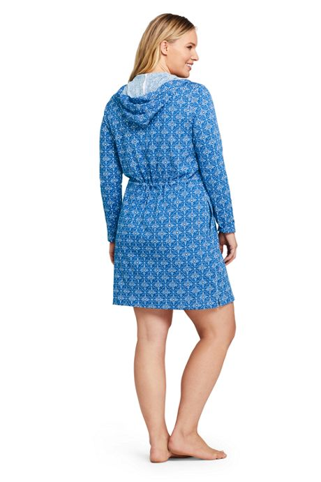 Women's Plus Size Cotton Jersey Long Sleeve Hooded Full Zip Swim Cover-up Dress Print