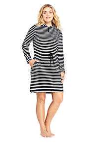 d4d49b7f0d26c Women s Plus Size Cotton Jersey Hooded Full Zip Swim Cover-up Stripe