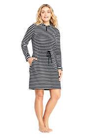 Women's Plus Size Cotton Jersey Hooded Full Zip Swim Cover-up Stripe