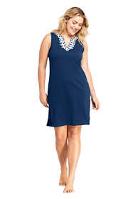 Women's Plus Size Cotton Jersey Embelished Sleeveless Tunic Dress Swim Cover-up