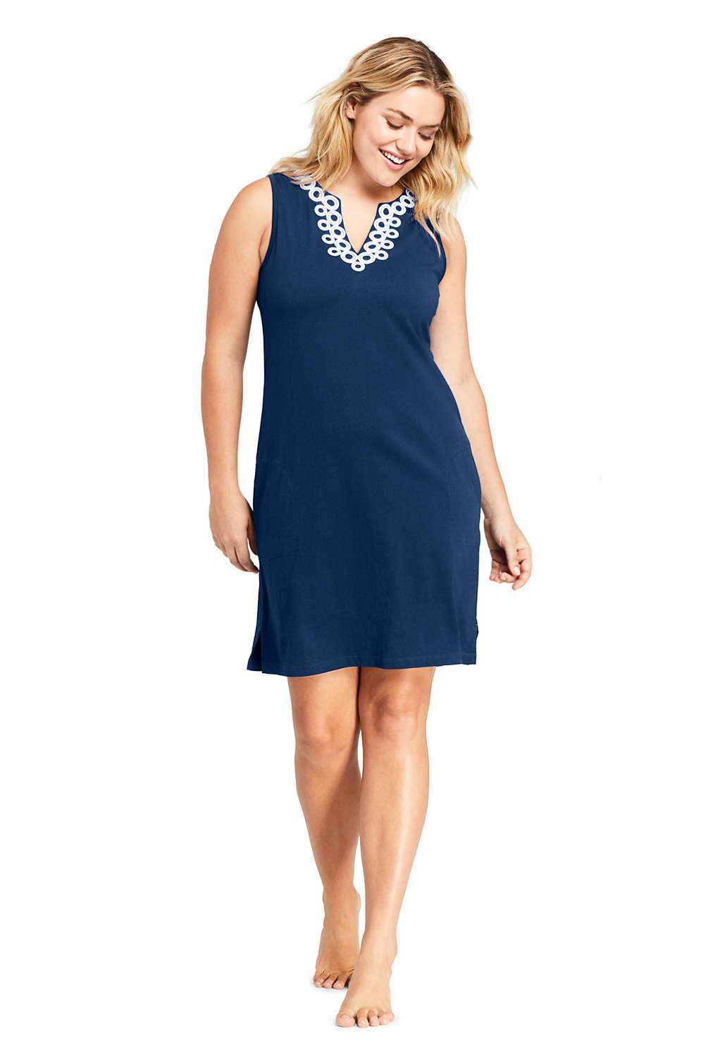 cbb22c7ce1 Women's Plus Size Cotton Jersey Embelished Sleeveless Tunic Dress Swim Cover -up from Lands' End
