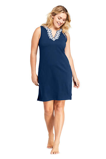 Women\'s Plus Size Cotton Jersey Embelished Sleeveless Tunic Dress ...