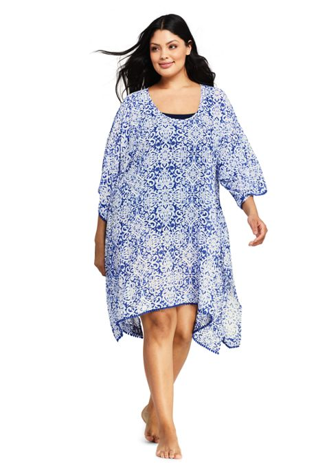 Women's Plus Size Woven Dolman Caftan Swim Cover-up Print