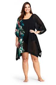 Women's Plus Size Woven Dolman Kaftan Swim Cover-up Print