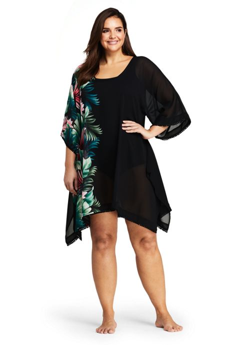 Women's Plus Size Woven Dolman Kaftan Swim Cover-up Print