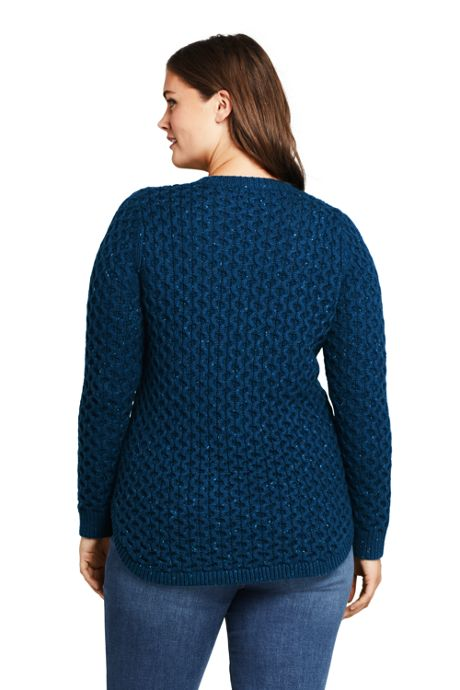 Women's Plus Size Cozy Donegal Tunic Cable Sweater