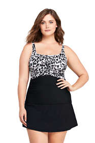 Women's Plus Size Slender Square Neck Underwire Tankini Top Swimsuit Print
