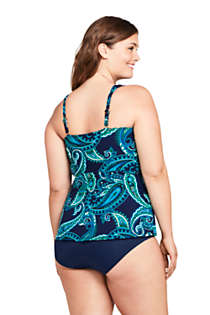 Women's Plus Size DD-Cup Slender Wrap Chlorine Resistant Tankini Top Swimsuit Adjustable Straps, Back