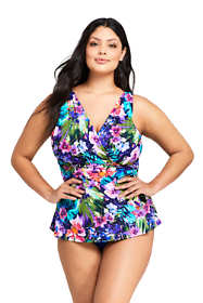 Women's Plus Size DDD-Cup Slender Surplice Tankini Top Swimsuit Print