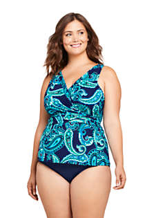 Women's Plus Size DD-Cup Slender Wrap Chlorine Resistant Tankini Top Swimsuit Adjustable Straps, Front