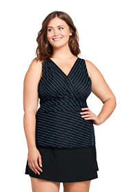 Women's Plus Size Slender Wrap Chlorine Resistant Tankini Top Swimsuit Adjustable Straps Print