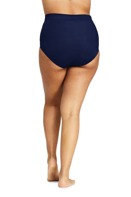 Women's Plus Size Slender High Waisted Bikini Bottoms with Tummy Control