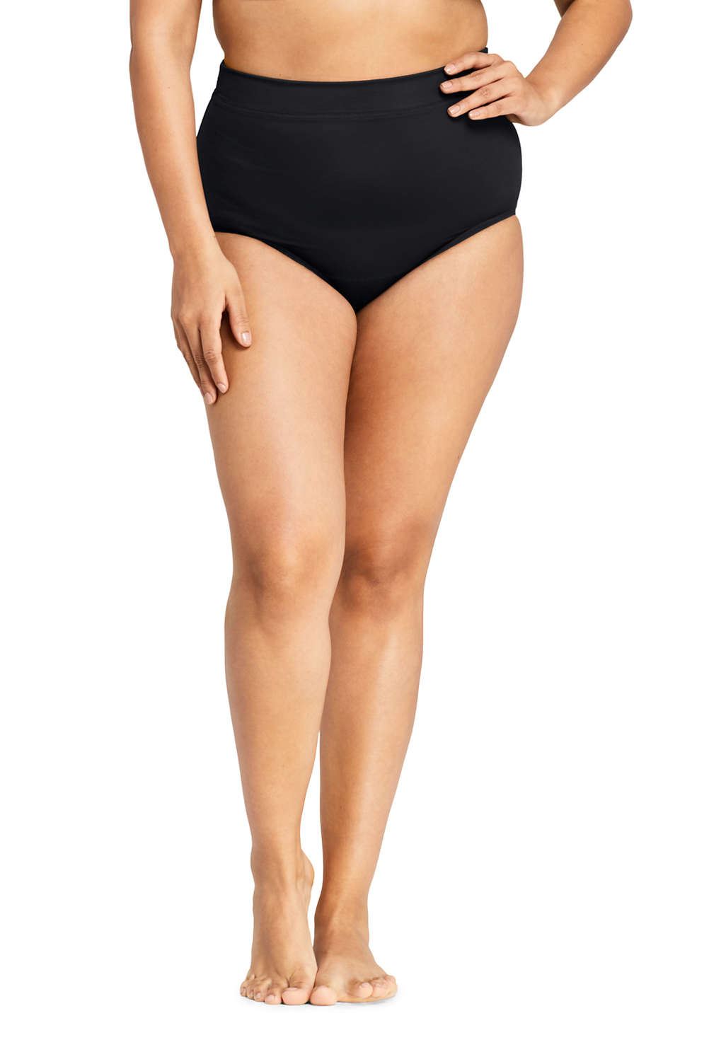 ba573e2718 Women s Plus Size Slender High Waisted Bikini Bottoms with Tummy Control  from Lands  End