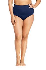 Women's Plus Size Slender Tummy Control Chlorine Reisitant High Waisted Bikini Bottoms