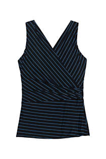 Women's Slender Wrap Chlorine Resistant Tankini Top Swimsuit Adjustable Straps Print, Front