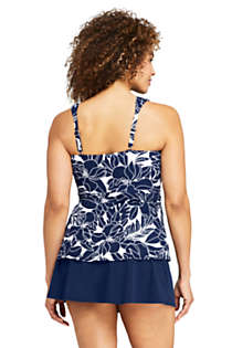 Women's Slender Wrap Chlorine Resistant Tankini Top Swimsuit Adjustable Straps Print, Back