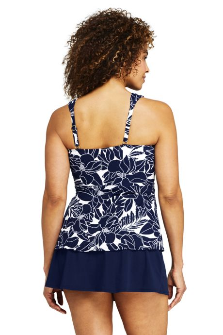Women's Slender Wrap Chlorine Resistant Tankini Top Swimsuit Adjustable Straps Print