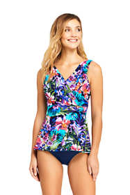 Women's D-Cup Slender Surplice Tankini Top Swimsuit Print