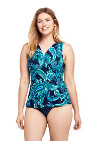 Women's D-Cup Slender Wrap Chlorine Resistant Tankini Top Swimsuit Adjustable Straps Print