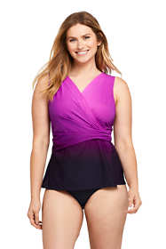 Women's DDD-Cup Slender Wrap Chlorine Resistant Tankini Top Swimsuit Adjustable Straps Print