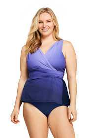 Women's Plus Size Slender Surplice Tankini Top Swimsuit Print
