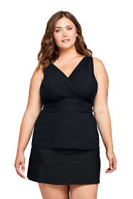 Women's Plus Size Slender Surplice Tankini Top Swimsuit