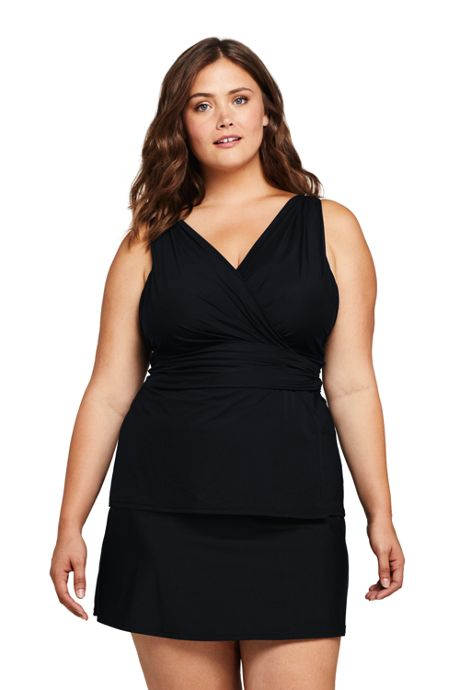 Women's Plus Size DDD-Cup Slender Surplice Tankini Top Swimsuit