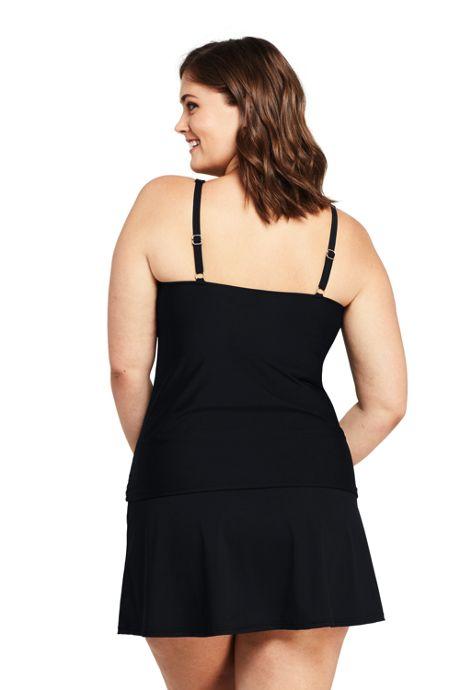 Women's Plus Size Slender Square Neck Underwire Tankini Top Swimsuit