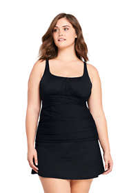 Women's Plus Size Slender Square Neck Underwire Tankini Top Swimsuit