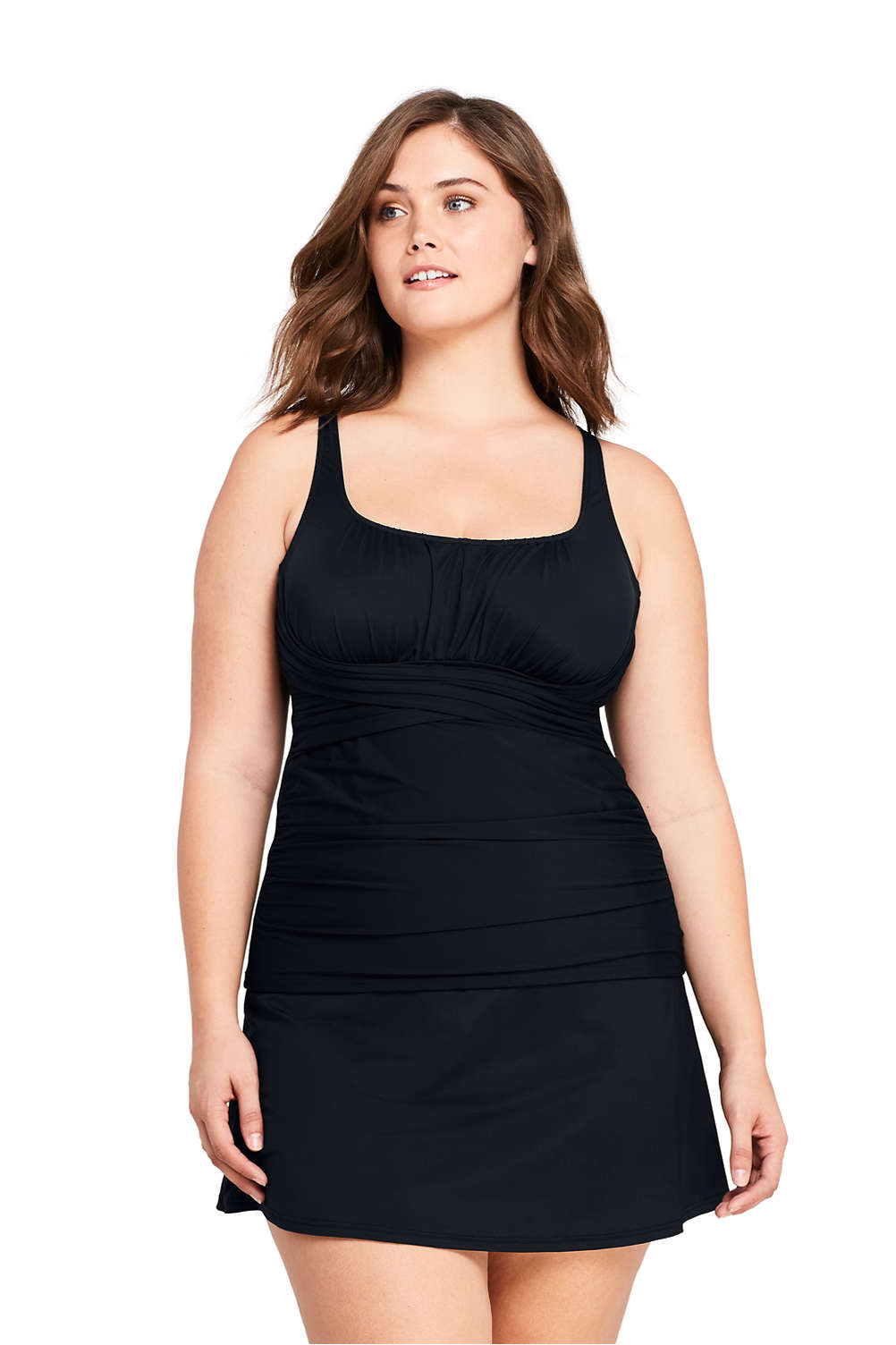 72abaa2d72c6b Women s Plus Size Slender Square Neck Underwire Tankini Top Swimsuit from  Lands  End