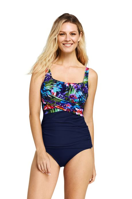 Women's Slender Square Neck Underwire Tankini Top Swimsuit Print