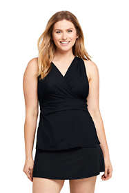 Women's Slender Wrap Chlorine Resistant Tankini Top Swimsuit Adjustable Straps Black