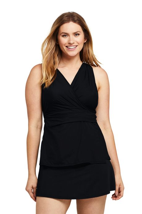 Women's DD-Cup Slender Surplice Tankini Top Swimsuit