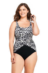 Women's Plus Size Long Slender Draped Square Neck One Piece Swimsuit with Tummy Control Print
