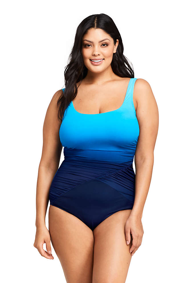 Women's Plus Size DD-Cup Slender Draped Square Neck One Piece Swimsuit with Tummy Control Print, Front