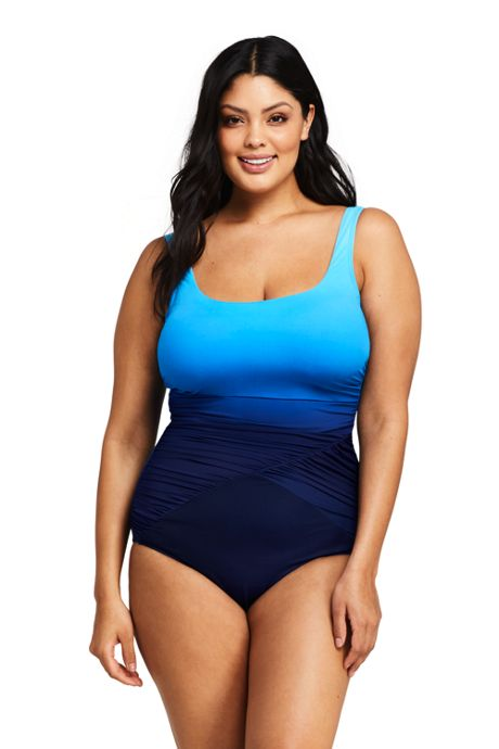 Women's Plus Size DD-Cup Slender Draped Square Neck One Piece Swimsuit with Tummy Control Print