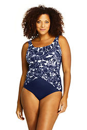 db34c95fc23 Women's Plus Size Slender Draped Square Neck One Piece Swimsuit with Tummy  Control Print