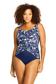 Women's Plus Size Slender Draped Square Neck One Piece Swimsuit with Tummy Control Print