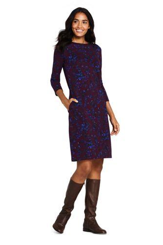 Women's Petite Ponte Jersey Floral Shift Dress