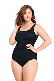 Women's Plus Size Long Slender Draped Square Neck One Piece Swimsuit with Tummy Control
