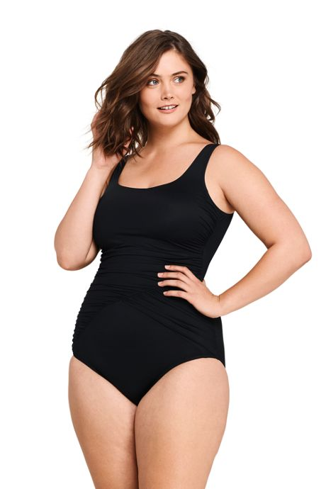 Women's Plus Size Slender Draped Square Neck One Piece Swimsuit with Tummy Control