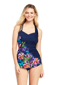 Women's Long Slender Tunic One Piece Swimsuit with Tummy Control Print