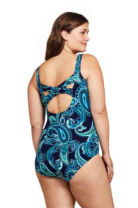 Women's Plus Size Slender Carmela Tummy Control Chlorine Resistant Scoop Neck One Piece Swimsuit