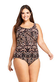Women's Plus Size Long Slender Carmela Underwire One Piece Swimsuit with Tummy Control Print