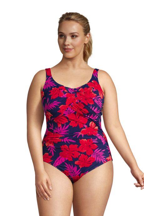 Women's Plus Size Slender Carmela Tummy Control Chlorine Resistant Scoop Neck One Piece Swimsuit