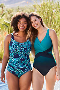 Women's Slender Tummy Control Chlorine Resistant V-neck Wrap One Piece Swimsuit Print, Unknown