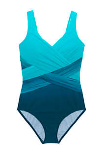 Women's Plus Size Slender Tummy Control Chlorine Resistant V-neck Wrap One Piece Swimsuit Print, Front