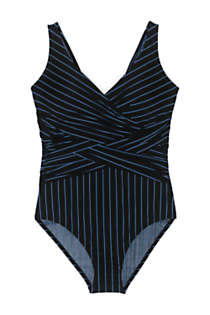 Women's Slender Tummy Control Chlorine Resistant V-neck Wrap One Piece Swimsuit Print, Front
