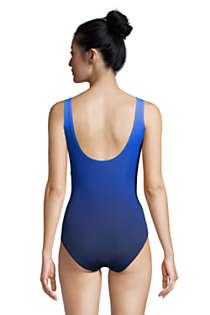 Women's D-Cup Slender Tummy Control Chlorine Resistant V-neck Wrap One Piece Swimsuit Print, Back