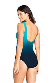 Women's Petite Slender Tummy Control Chlorine Resistant V-neck Wrap One Piece Swimsuit Print, Back